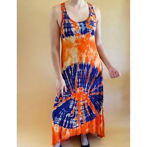 Hi Lo Maxi Dress Orange Purle TieDye L/XL